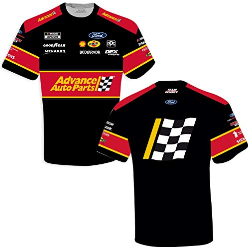 Checkered Flag Ryan Blaney 2021 Advance Auto Parts Sublimated Uniform T-Shirt Black (2X-Large)