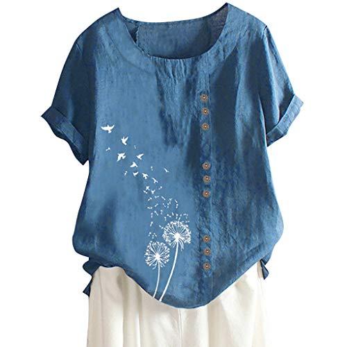 SatinGold Stickjacke Bluse Damen Leinen Lässig Löwenzahn Bedruckt Tunika Top Kurzarm T-Shirt Sexy Rundkragen Asymmetrisch Vorne Öffnen Oberteile Tops