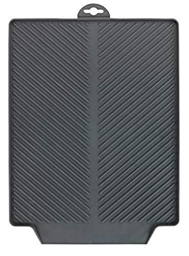 WENKO Afdruipmat Linea grijs - droogmat, spoelbakmat voor servies, kunststof (TPR), 40 x 3 x 30 cm, grijs