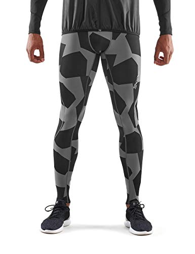 SKINS DNAmic Mens Long Tights Small Camo Charchoal Homme, Charcoal, FR : S (Taille Fabricant : S)