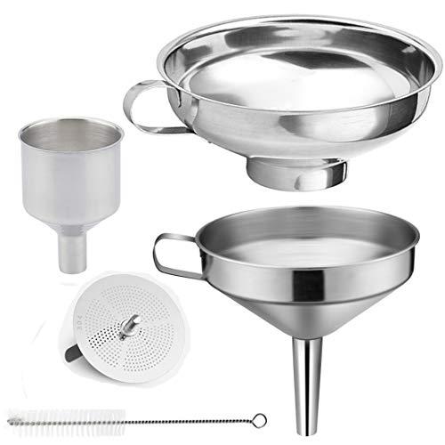 Abimars - Lot de 3pièces - Entonnoirs de cuisine en acier inoxydable résistant - Avec tamis pour le transfert de la confiture de fève, poudre, liquide, épices - Lavables au lave-vaisselle