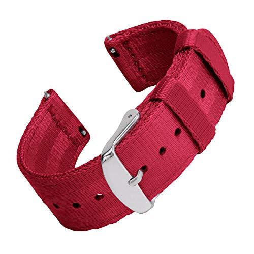 Archer Watch Straps | Sicherheitsgurt Stil gewebtes Nylon Quick Release Ersatz Uhrenarmband für Damen und Herren, Uhrenband für Uhr und Smartwatch | Rot, 22mm