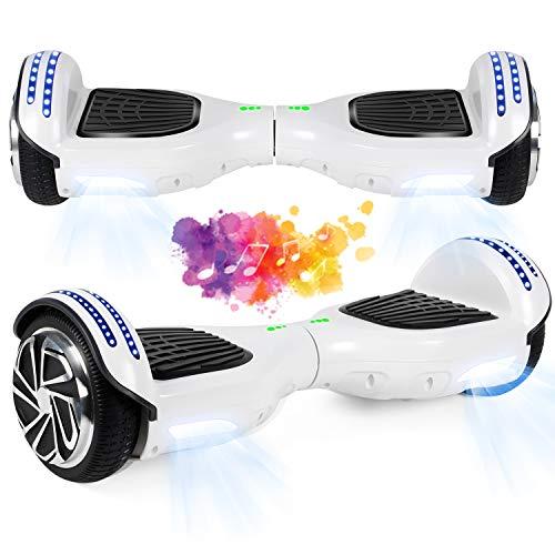 "SISGAD Hoverboard con Ruedas de 6.5"", Eléctrico Self-Balancing Overboard Self Blance Scooter 2x300W con LED Luces, Bluetooth (azul2-bluetooth)"