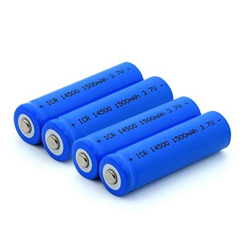 zhoudashu Batteria agli Ioni di Litio da 3.7v 1500mah 14500, Ricaricabile per Telecomando della Fotocamera Power Bank 4pieces