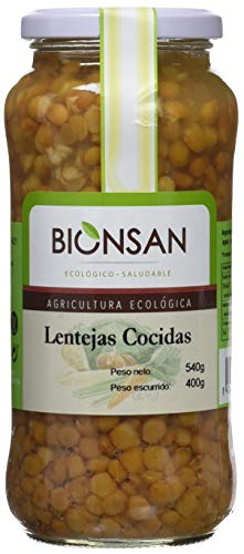 Bionsan Lentejas Cocidas Ecológicas - 4 Botes de 400 gr