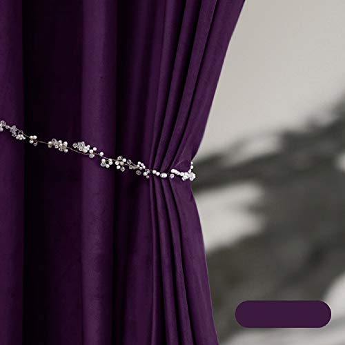 TIYANA 2 Panels Luxury Soft Touch Dark Purple Velvet Curtains for Living Room Bedroom Grommet Top - Each Panel 39x47 inch Long