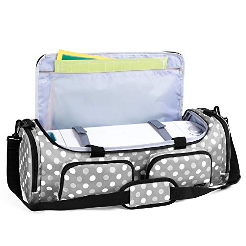 Luxja Bag for Cricut Explore Air (Air2) and Maker, Carrying Case for Cricut Die-Cut Machine and Accessories (Bag Only), Gray Dots