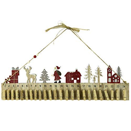 RiloStore Adventskalender mit Klammern 2-24 Kalender Weihnachtskalender braun Weiss rot Holz EDEL Holztiere 45cm lang