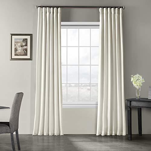 Half Price Drapes PDCH-KBS2-96 Vintage Textured Faux Dupioni Silk Curtain, 50 x 96, Off White, (1 Panel)