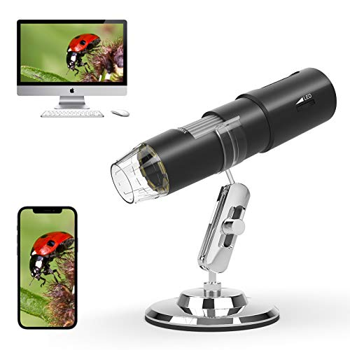 Kolaura Wireless Digital Microscope, Handheld Portable WiFi Magnifier 50X to1000X Magnification Zoom,USB Endoscope1080P HD with Adjustable 8 LED Lights and Stander.Compatible with Phone/Computer