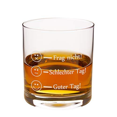 Geschenke 24 Leonardo Whiskyglas - Frag Nicht - Guter Tag Lustiges Whisky Glas - Whiskey Rum Markenglas mit Smiley Gravur je nach Stimmung für Vatertag, Papa Sohn Geschenk