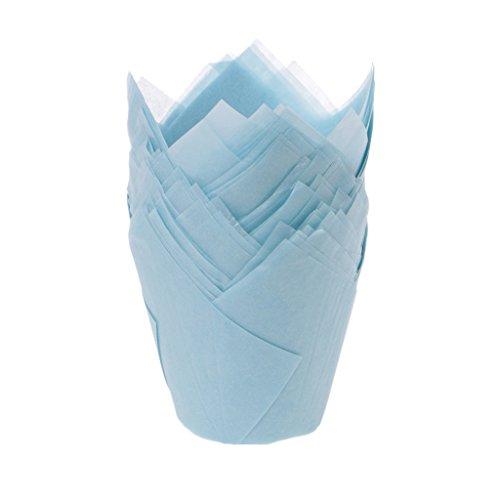 KOFUN Vasos de papel para hornear, 50 piezas/lote sólido envoltura forros taza muffin tulipán caso pastel papel hornear cuu piece azul