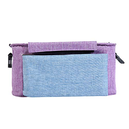 Mr.LQ Bolsa de Almacenamiento Organizador Bolsa Bolsa de Carro de bebé Bolsa de pañales Portabotellas para Buggy Sillón de Coche,Purple