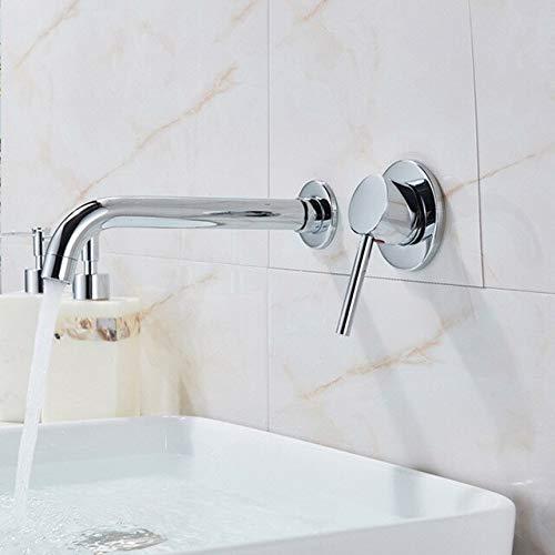 BDWS Baño montado en la pared, negro mate, grifo de cocina, un orificio de agua fría, lavado, caño de rotación, latón, tocador, fregadero, grúa, Estados Unidos, cromo