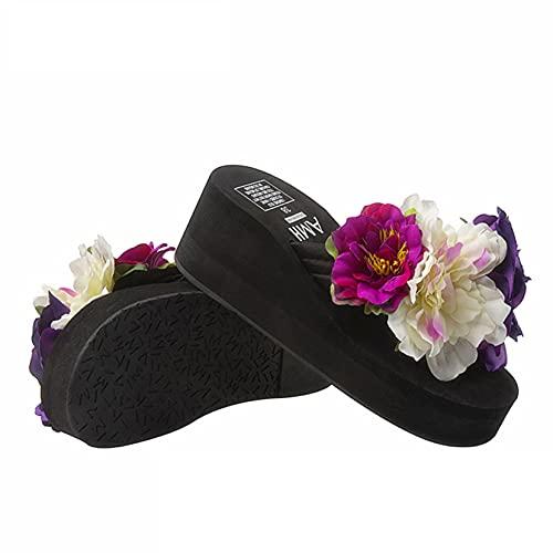 Chanclas para mujer Plataforma de cuña de ocio Zapatos de piscina con patrón de flores al aire libre Verano Playa Baño Ducha Deslizadores