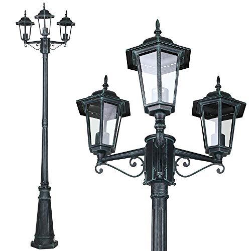 Bakaji Lampione Vittoriano Classico da Giardino in Alluminio e Vetro Lampada Lanterna Esagonale Colore Nero Finitura Anticata IP44 E27 (3 Luci)