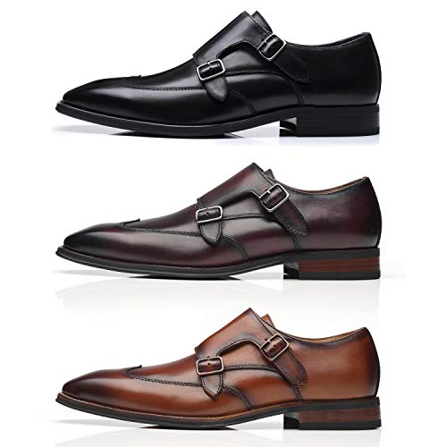 La Milano Mens Double Monk Strap Slip on Loafer Cap Toe Leather Oxford Formal Business Casual Comfortable Dress Shoes for Men, Wing-1-cognac, 7.5