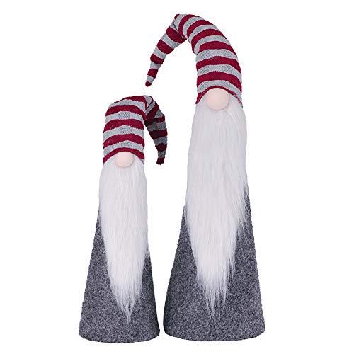 Valery Madelyn 48.5/ 64cm Stoff Weihnachtsdekoration Weihnachtswichtel Dekofigur Nordische Stimmung Thema 2er Set mit Bart Knollnase und Langer Zipfelmütze Rot Grau MEHRWEG Verpackung