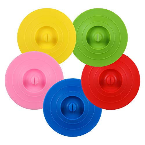 ME.FAN Silicone Cup Lids - Circle Cup Cover [5 Set] Anti-dust Airtight Seal Mug Cover - Hot Cup Lids/Spoon Holder - Silicone Drink Bowl Lids Bright Colors