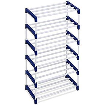 Ebee 12 Pair Metal Shoe Stand (Blue, 6 Shelves)