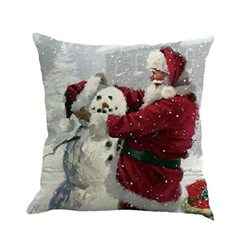 asdfwe 1pc Navidad Santa Throw Pillow Caso Cojín De Lino De Lino Sofá Banda Funda De Almohada Navidad De La Cubierta del Tema Cuadrado De La Funda De Almohada para Hogar Y La Oficina