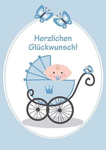 'ES IST EIN JUNGE' A4 Glückwunschkarte Baby zur Geburt eines Jungen: Lustige XXL grosse Maxi-Karte (10737) im Retro-/Nostalgie-Stil von EDITION COLIBRI © - umweltfreundlich, da klimaneutral gedruckt