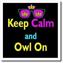 3dRose ht_116742_2 CMYK Keep Calm Parody Hipster Crown & Sunglasses Keep Calm & Owl on Iron on Heat Transfer Paper for White Material, 6 by 6