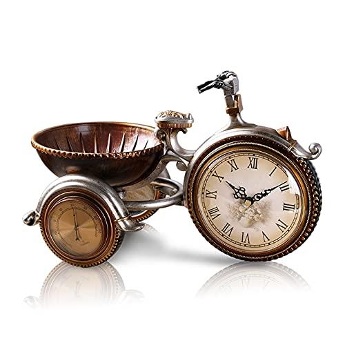 DONGTAISHANGCHENG Reloj de Escritorio Reloj Reloj Europeo Estilo Retro Reloj de Noche Triciclo Mudo Movimiento Sala de Estar Estudio Resina Reloj Escritorio Adornos Reloj de Mesa