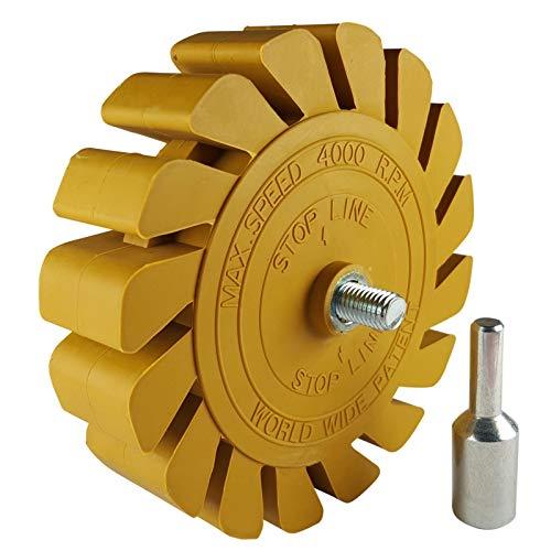 Lamellen-Folienradierer Ø 100mm incl. Adapter - Einfaches entfernen von Aufklebern und Folien auf nahezu jeden Untergrund wie z.B. Auto, Motorrad, Boot, Möbel oder Holz