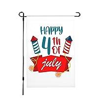 ハッピー7月4日独立記念日ガーデンフラッグ12× 18インチ両面イミテーションヘンプガーデンフラッグ屋外装飾フラッグ