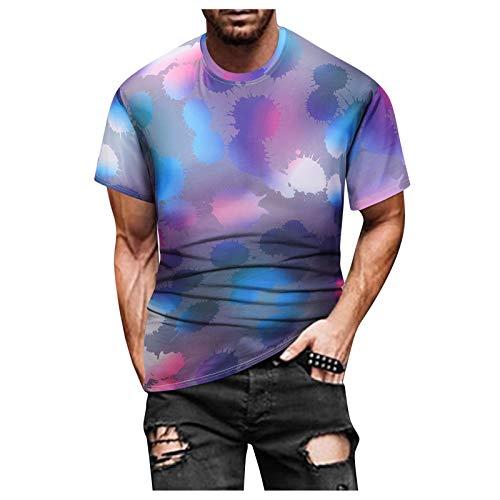 Camiseta para hombre de corte ajustado, cuello redondo, moda informal, impresión 3D, suave, divertida, manga corta, moderna, oversize multicolor XL