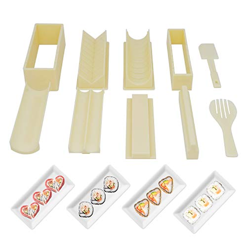 Sushi Making Kit Sushi Maker Tool 10 Pieces Plastic Sushi Set Deluxe Edition with 8 Different Shapes of Sushi Rice Roll Mold Shapes Fork Spatula DIY home Sushi Tools