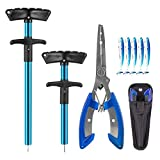 BesWlz Fish Hook Remover 3 Pieces,Squeeze-Out Fish Hook Separator Tools Fishing Pliers Stainless Steel with Sheath,Portable Fishing Extractor Tool Set for Fishing Minimize Injuries