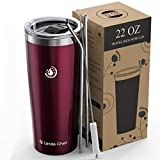 Umite Chef 22oz Tumbler Insulated Stainless Steel Travel Tumbler Mug with Lid, 2 Straws & Brush Durable Insulated Coffee Mug, Thermal Cup with Splash Proof Sliding Lid (Wine Red)