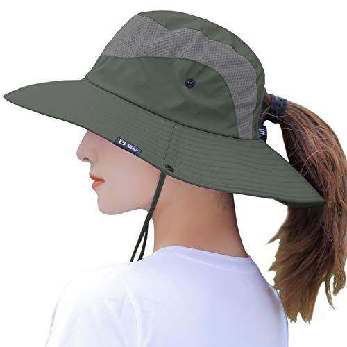 Women's Summer Sun Hat Wide Brim UV UPF50 Protection Hats Foldable Packable Ponytail Bucket Cap for Safari Beach Fishing Gardening Army Green