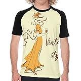 Aerokarbon T-Shirt à Manches Courtes pour Homme,Belle Fille au Chapeau avec Un Verre de vin dans Un Style Vintage Dame en Robe rétro,Cool Novelty pour Hommes T-Shirts Graphiques S