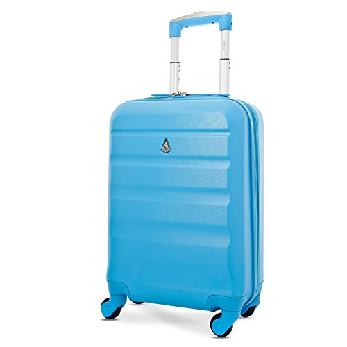 Aerolite Super Lightweight ABS Hard Shell Travel Carry On Cabin Hand Luggage Suitcase with 4 Wheels, Approved for Ryanair, easyJet, British Airways, Virgin Atlantic, Flybe and Many More, 21' (Blue)