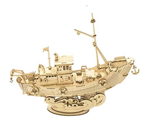 Maqueta Mecanica Barco Pesquero en Madera Puzzle 3D Rompecabezas Corte Laser Modelo Ensamblar Niños Jovenes Adultos