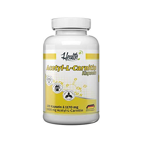 Health+ Acetyl-L-Carnitin Kapseln hochdosiert - 120 L-Carnitin-Kapseln mit 1000 mg pro Kapsel, optimaler Carnitin-Komplex als Nahrungsergänzung, 140,4 g