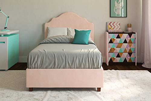 DHP Savannah Upholstered Platform Bed, Pink, Twin