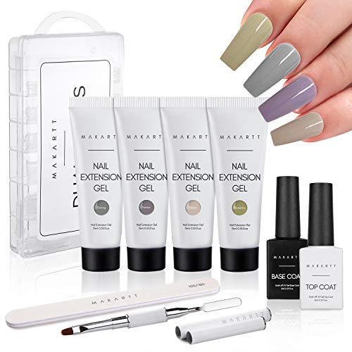 Makartt Poly Nail Gel Kit, High Tea Nail Extension Gel Set with 4 Builder Gel Nail Enhancement Manicure All-in-one Kit for Beginner or Nail Technician