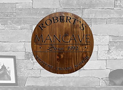 TBA Round Wood Wall Art Man Cave Custom Bar Sign Home Décor Classic Walnut 14 inch Wall Decor