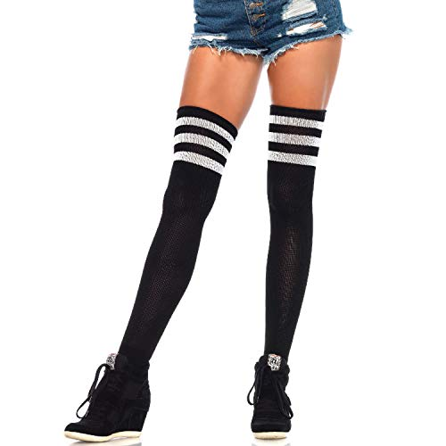 Leg Avenue Women's Athletic Three Striped Knee High Socks, Black/White, One Size