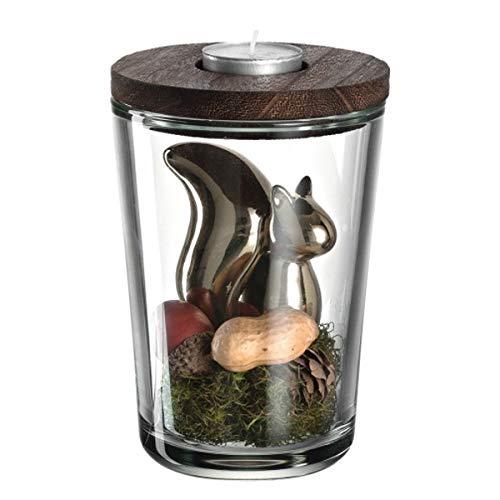 Leonardo - Vase Teelichthalter - mit Eichhörnchen Edy - H16 cm - inkl. Dekoration