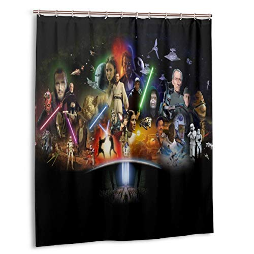 Wxyan Star Wars Shower Curtain DIY Funny Waterproof No Deformation Quick-Drying Bathroom Shower Curtains, with 12 Plastic Hooks(60 in x 72 in)