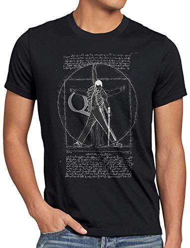 style3 Vitruvianischer Freddie Herren T-Shirt da Vinci live Rock You Festival, Größe:M, Farbe:Schwarz