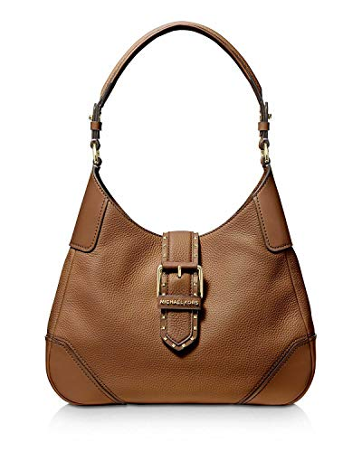 Made of pebbled leather with studs and logo emblem on flap; Zip pocket inside; 2 Slide pocket Logo jacquard lining; 1.5 Inches flat leather shoulder strap with Ring connected to the bag 10 Inches drop from shoulder; Flat leather base; Gold hardware M...