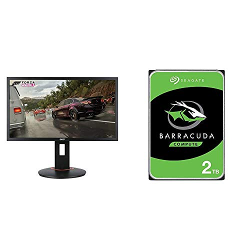 Acer XFA240 bmjdpr 24%22 Gaming G-SYNC Compatible Monitor 1920 x 1080, Pivot, Swivel & Tilt, Black & Seagate Barracuda 2TB Internal Hard Drive HDD – 3.5 Inch SATA 6Gb/s 7200 RPM 256MB Cache 3.5-Inch