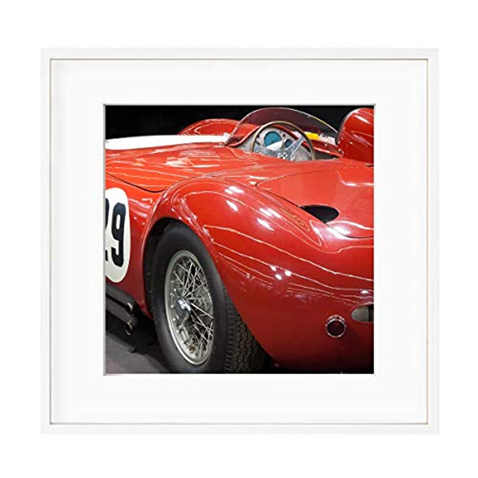Red Sports Car, White Lacquered Wood Frame, with Mount, Multicolored, 60x60