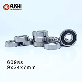 Ochoos 609RS Bearing ABEC-1 10PCS 9x24x7 mm Miniature 609-2RS Ball Bearings 609 2RS